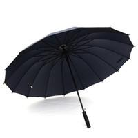 우산 긴 핸들 직선 Windproof 단색 컬러 명주 우산 여성 남자 비오는 오후 비 우산 사용자 지정 로고 DH0803