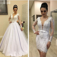Luxury 2 In 1 short Wedding Dresses Sexy Sheer deep V Neck L...