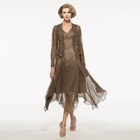 Mother of the Bride Dresses with Jacket Long Sleeves Chiffon...