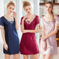 أزياء السيدات جديدة محاكاة الحرير بنطلونات فضفاضة المرأة الجديدة صيف الحرير مثير قصيرة الأكمام ثوب النوم أنثى الصيف بالجملة