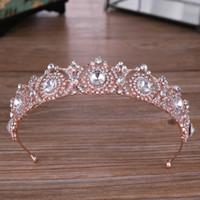 Украшения в стиле барокко Элегантный розовое золото Сердце Кристалл кронпринцесса Люкс Свадебные Tiara волос головной убор Свадебные аксессуары для волос