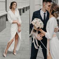 2019 Günstige V-Ausschnitt Aline Chiffon Brautkleider mit langen Ärmeln und Schärpe Strand Brautkleid
