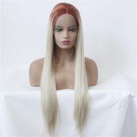10 Renkler SHUOWEN Remy saç Sentetik Dantel Açık Peruk Siyah Sarışın Ombre Yeşil Gri Kahverengi Peruk Simülasyon İnsan Saç Peruk