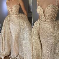 Brilhante ouro Abiye sereia longos vestidos de noite com destacável Flower Train Lace Evening vestidos de paetês sexy vestido formal Backless 2 Pieces