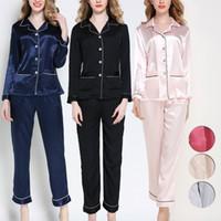 2019 mujeres otoño moda pijamas 2pcs pijamas ropa de dormir conjunto de imitación de seda satinada Sleepcoat + sleeppants traje ropa de dormir Mujer Homewear