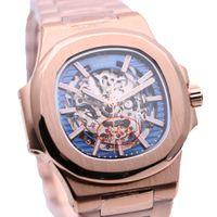 Mens Pulseira de Ouro completa AEHIBO cristal de safira Automático Mecânica Assista 42MM Oval esqueleto azuis transparentes Dial Relógios de pulso