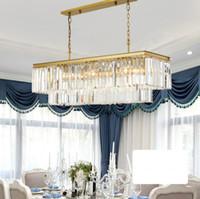 Platz RH Moderne Glaskristallleuchter Lichter Goldene hängende Kette Rechteck LED Kronleuchter Pendelleuchte Lampe für Dinning Room LLFA