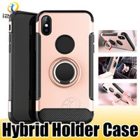 Custodia Cover per cellulare Kickstand Hybrid in fibra di carbonio per LG G8S ThinQ G7 Q8 Q7 V50 Aristo 2 iPhone XS MAX XR X