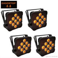 TP-G3039 4 Unidades de control remoto inteligente plana UPLIGHT 9 * 15W 6in1 RGBAW LED de luz de la igualdad de Hierro Negro Vivienda de 25 grados Lente Smooth pared de la colada