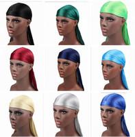 Satin Durags Bandana Turban Perruques 17 couleurs Hommes Silky Durag Bandeau Bandeau Pirate Chapeau Cheveux Accessoires