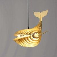 일본의 새로운 스타일은 고래 샹들리에 나무 예술 물고기 모양의 식당 거실 펜던트 램프 침실 펜던트 조명