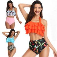 Nuevo Bikinis Mujeres Traje de baño Cintura alta Traje de baño Traje de baño Push Up Bikini Set Ropa de playa vintage Biquini