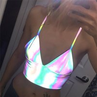 2020 Summer Sexy Camis Women Reflective Tees Night Club Neon...
