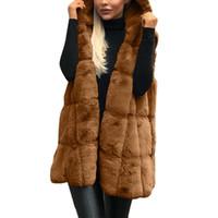 Casual winter verdicken faux pelz weste jacke frauen einfarbig kapuze weste mode