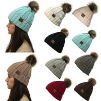 9 farbe winter frauen strickmütze warme pom pom bunte wolle hut damen schädelmütze feste weibliche outdoor caps yd0331