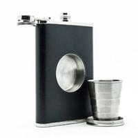Frasco portátil de aço inoxidável 8oz vinho retráctil dobrável com funil de aço inoxidável em 3 peças t3i5681