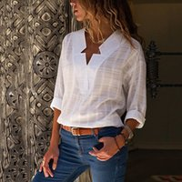 2019 estate donne di nuovo modo elegante Thin White Shirt Star Design collo a maniche lunghe camicetta casuale