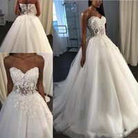 Sexy See Through Beach Wedding Dresses Sweetheart Lace Appli...