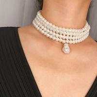 2019 neue Frauen arbeiten Halsketten-natürliche Perlenkette Mehrschichtige Diamant-Halskette Kristall Brautschmuck Anhänger Schmuck