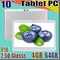 """818 جودة عالية 10 بوصة MTK6580 2.5D الزجاجات IPS بالسعة شاشة تعمل باللمس Dual SIM 3G GPS Tablet PC 10 """"Android 6.0 Octa Core 4GB 64GB G-10PB"""