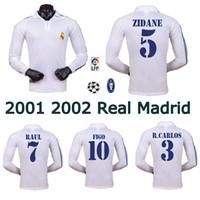 2001 2002 Real Madrid Home Longsleeve Soccer Jersey Zidane Figo Hierro Raul Morientes Classic Retro Football Shirt Vintage Jersey