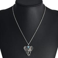 Bohimian Gypsy Anhänger Halskette Imitation Thai Silber überzogene Maskottchen Elefant Strass Sonne Mond eleganter Böhmen Designerschmuck für Frauen