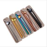 미국 주식! 스테인레스 스틸 빨대 세트 밀짚 바 도구 FY4146 마시는 빨 박스 재사용을 마시는 스트레이트 구부러진 빨대 7PCS 세트를