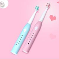 Spazzolino da denti elettrico con 4 sostituzione delle spazzole Heads 5 Modi IPX7 Denti di Sonic impermeabili igiene orale pennello Rosa Blu
