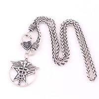 Nowy projekt Antique Silver / Gold Caduceus Uzdrowicielers Pentagram Charm Medical Symbol Wicca Talisman Naszyjnik łańcucha pszenicy