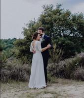 저렴한 레이스 쉬폰 나라 결혼식 또는 드레스 A 라인 섹시한 등이없는 보헤미안 비치 보헤미안 신부 가운 3/4 긴 소매 신부 드레스 플러스 사이즈