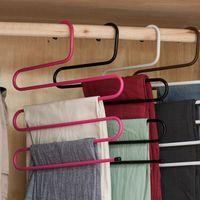 5 طبقات S الشكل شماعات متعددة الوظائف غير زلة الملبس الشماعات وشاح بانت التخزين المعلقون ثخن الحديد الملابس تخزين الرف VT0870