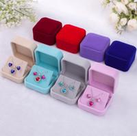 7 * 7 * 4 cm kadife mücevher kutusu kolye kutusu küpe hediye kutusu Takı seti Paketleme seçim için daha fazla renk