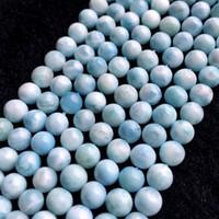"""Alta calidad Genuino Natural República Dominicana Azul Cielo Larimar Ronda Gemas sueltas perlas 6-12mm 15.5 """"06008"""