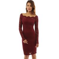 новые женские кружевные пряди пустые с длинными рукавами сексуальные узкие однотонные юбка платье юношеская популярность стиль вышивки длинные