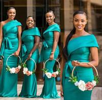 زائد حجم هنتر حورية البحر فساتين وصيفة الشرف للأفارقة حفلات الزفاف الأفريقية أنيقة واحدة الكتف خادمة طويلة الشرف أثواب رسمي مساء اللباس