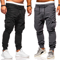 Men' s cotton multi- pocket cargo pants casual jogging pa...