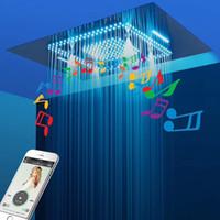 Soffitto doccia di musica di Bluetooth soffione Accessori Bagno tocco nero di colore del LED doccia a pioggia Msaage Jets Showerheads