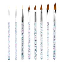 8pcs / Set Nail Art Liner Pennello Pennello in cristallo Acrilico UV Gel Striscia di Gel Stripe Pittura Scultura Drawing Pen Manicure Tools