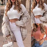Vintage O boyun Uzun Kollu Tişört Yeni Kadın Slim Fit Tişörtlü Sıkı Tee Sonbahar Casual Kazak Stretch Retro 2 renk Tops