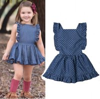 Baby girls suspender Dot print dress children Ruffle sleeve ...