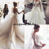 Длинное платье с длинным рукавом платья свадебные платья 2019 прозрачная жемчужина 3d 3d цветочные пухлые юбка принцесса церковь сад свадебное свадебное платье
