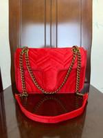 뜨거운 판매 디자이너 여자 어깨에 매는 가방 고전적인 금 사슬 26cm 우단 마몬트 핸드백 끈달린 가방 메신저 핸드백 G8712