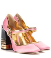 Бесплатная доставка 2019 атласная кожа коренастый высокие каблуки золото граничит с бриллиантом круглые пальцы красочные алмазы туфли на высоком каблуке платье обувь свадьба розовый