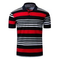 Cotton Men Polo Shirt Casual Striped Slim Fit Polos Shirta S...