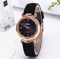 Mujeres Hombres Reloj de moda de lujo Cuero Dorado Casual Reloj Analógico Cuarzo Cristal Gema Reloj Rhombus Relojes Pulsera