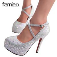 2018 mujeres zapatos de tacón alto de la boda zapatos de señora plataformas de cristal de plata Glitter rhinestone zapatos de novia de tacón delgado fiesta bomba