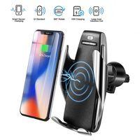 Chargeurs sans fil S5 capteur automatique de voiture pour iPhone Xs max Xr X Samsung S10 S9 Intelligent infrarouge rapide sans fil chargeant des supports de téléphone de voiture