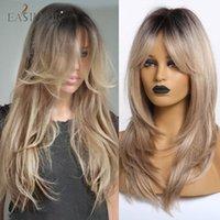 Synthetische Perücken EASIHAIR Lang gewellt für Afro Frauen Blondine Ombre Haar mit Pony Layered Hitzebeständige Cosplay Natural