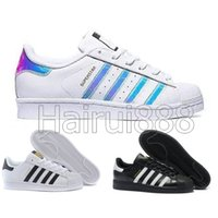 superstar 2019 Super Star White Hologram Iridescent Junior Superstars 80s Pride Womens Mens Trainers Superstar Casual Shoes envío gratis