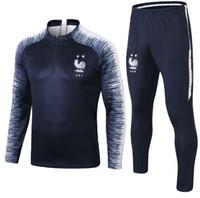 Maillot de Foot Enfants Jeunes survetement 2018 2019 maillots Coupe Equipe de France des jeunes manches longues Survêtements T-shirt